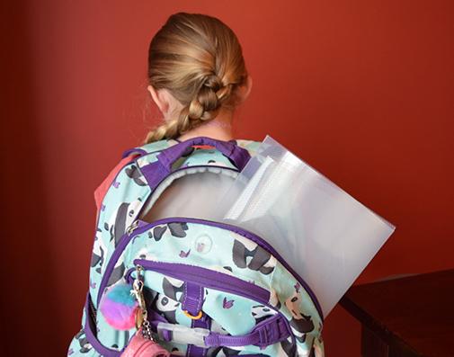 Small Desk Shield in Studen Backpack