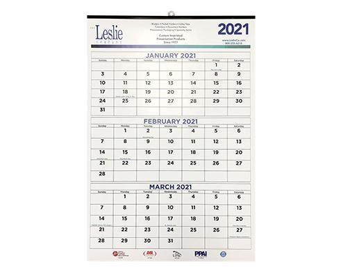 Three Month 11 x 18 Calendar