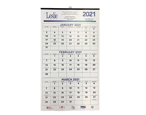 Three Month 13 x 18 Calendar